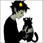 Аватар Karkat Vantas / Каркат Вантас из веб-комикса Хоумстак / Homestuck с черным котиком Водка Мутини / Vodka Mutini