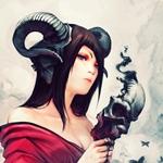 Аватар Девушка - демон с рогами барана с ярким макияжем в красном кимоно держит дымящуюся маску в руке, арт мангакиPatipat Asavasena