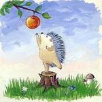 Аватар Ёжик на пеньке тянется к яблоку