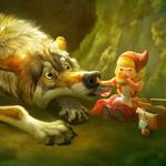 Аватар Волк пытается отобрать у Красной Шапочки пирожок, который она ест