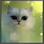 Аватар Пушистая белая кошка с зелеными глазами, art by Apofiss