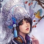 Аватар Девушка смотрит на, сидящюю на дереве, птичку, арт мангаки Yangfan