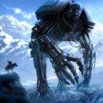 Аватар Большой робот на фоне заснеженных гор смотрит на всадника