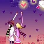99px.ru аватар Парень и девушка стоят обнявшись на фоне города и показывают на сердечки