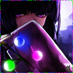 99px.ru аватар Анимешная девушка прикрывает лицо рукавом и стоит рядом с веткой, на которой разноцветные шары