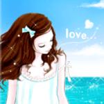 Аватар Девушка с бантом в волосах на фоне моря (love / любовь)