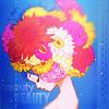 Аватар Аниме девушка с синими волосами, в которые вплетен букет цветов, стоит, закрыв глаза, рядом с ее шеей написано слово beauty