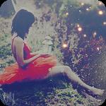 Аватар Девушка в красном платье сидит на траве