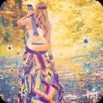 Аватар Девушка в длинном цветном платье с гитарой за спиной