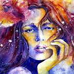 Аватар Нарисованная девушка, с цветами в волосах