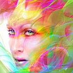Аватар Девушка с иллюзией цветных волос и ярким макияжем