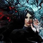 Аватар Девушка в черном одеяние, касается рукой воды