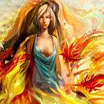 Аватар Нарисованная девушка, которая окружена плащом из желтых листьев