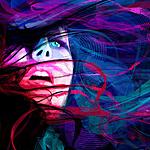 Аватар Портрет девушки с развивающимися трехцветными волосами