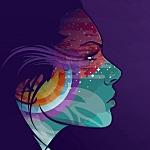 Аватар Профиль девушки на фиолетовом фоне с расписным лицом