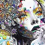 Аватар Девушка с разрисованным лицом цветами
