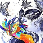 Аватар Нарисованная девушка в маске смотрит на бабочку