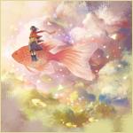Аватар Девочка сидит на большой золотой рыбе в облачном небе, вокруг плывут маленькие рыбки, художник 防人