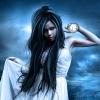 Аватар Черноволосая девушка в белом платье на фоне грозного неба
