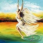 Аватар Девушка ангел на качелях опустила ногу в воду, на фоне деревьев и облачного неба, художница Elzbieta Mozyro