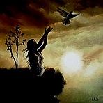 Аватар Девушка выпустила голубя около одинокого дерева, художница Elżbieta Mozyro