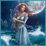 Аватар Девушка с арфой стоит в море под луной, художник Крис Ортега / Cris Ortega