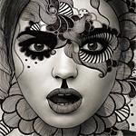 99px.ru аватар Девушка, с разрисованным, узорами, лицом, смотрит вперед открыв рот