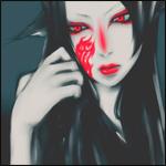 Аватар Девушка-демон с красной татуировкой на лице