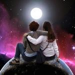 Аватар Парень с девушкой сидят на планете земля на фоне луны