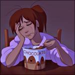 Аватар Девушка плачет и кушает мороженое (Chocolate / Шоколадное)
