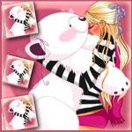 Аватар Девушка крепко обнимает плюшевого белого медведя