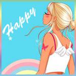Аватар Девушка, с маленькими ангельскими крыльями, на голубом фоне с радугой, повернута лицом к надписи Happy / Счастливый, с татуировкой на руке в виде бабочки