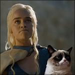 Аватар Эмилия Кларк / Emilia Clarke в роли Дэйнерис Таргариен / Daenerys Targaryen из сериала Игра престолов / Game of Thrones, на фоне Grampy Cat