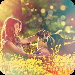 Аватар Девушка с собакой, среди желтых цветов