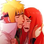 Аватар Minato Namikaze / Минато Намикадзэ и Kushina Uzumaki / Кусина Удзумаки из аниме Naruto / Наруто обнимаются и плачут