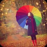 Аватар Девушка под разноцветным зонтом в осеннем лесу