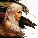 Аватар Дэйнерис Таргариен / Daenerys Targaryen из сериала Игра престолов / Game of Thrones, на фоне драконов