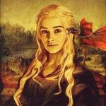Аватар Эмилия Кларк / Emilia Clarke в роли Дэйнерис Таргариен / Daenerys Targaryen из сериала Игра престолов / Game of Thrones\, в виде Мона лизы с драконом на плече