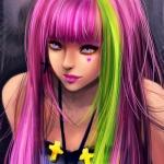 99px.ru аватар Девушка с розовыми волосами и зеленой прядью