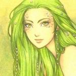Аватар Девушка с зелеными волосами и зелеными глазами в жемчуге