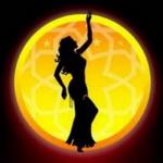 Аватар Силуэт девушки на фоне желтой луны
