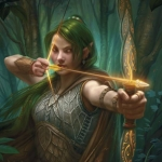 Аватар Эльфийка с зелеными волосами держит в руках лук
