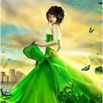 Аватар Девушка в зеленом платье на фоне неба