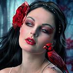 Аватар Девушка с красной птицей на плече и красным цветком на волосах