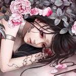 Аватар Девушка манга с цветами и татуировками