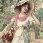 Аватар Девушка в белой шляпке, украшенной цветами и белом платье, держит в руке корзинку с цветами