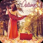 Аватар Девушка с красным чемоданом стоит на дороге идущей среди осеннего леса (Autumn / Осень)