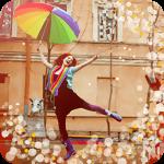Аватар Танцующая девушка с разноцветным зонтом на улице города