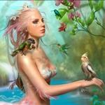 Аватар Девушка на природе с попугаем на руке, с розовыми волосами и ракушками на голове