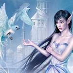 Аватар Девушка-эльфийка с длинными черными волосами протягивает руку птицам